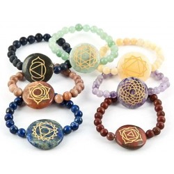 7 Carved Chakra Gemstone Bracelets Tree of Life Journeys Reconnect with Yourself - Meditation, Law of Attraction, Spiritual Products