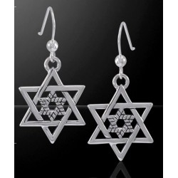 Double Star of David Sterling Silver Earrings Tree of Life Journeys Reconnect with Yourself - Meditation, Law of Attraction, Spiritual Products