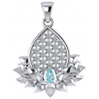 Lotus Flower of Life Blue Topaz Pendant