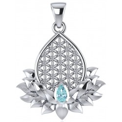 Lotus Flower of Life Blue Topaz Pendant Tree of Life Journeys Reconnect with Yourself - Meditation, Law of Attraction, Spiritual Products