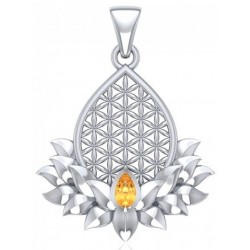 Lotus Flower of Life Citrine Pendant Tree of Life Journeys Reconnect with Yourself - Meditation, Law of Attraction, Spiritual Products