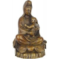 Kuan-Yin with Baby Small Bronze Statue