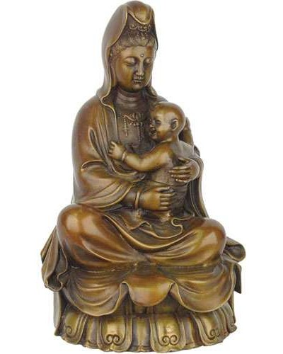 Kuan-Yin with Baby Small Bronze Statue at Tree of Life Journeys, Reconnect with Yourself - Meditation, Law of Attraction, Spiritual Products