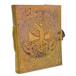 Tree of Life and Rivers of Wisdom Leather Journal in Yellow Tree of Life Journeys Reconnect with Yourself - Meditation, Law of Attraction, Spiritual Products