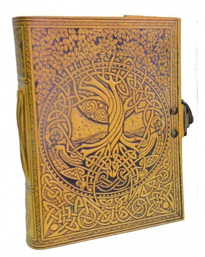Tree of Life and Rivers of Wisdom Leather Journal in Yellow at Tree of Life Journeys, Reconnect with Yourself - Meditation, Law of Attraction, Spiritual Products