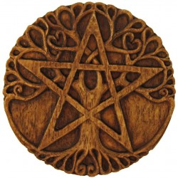 Tree Pentacle Wood Finish Plaque