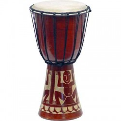 Djembe Drum Carved Red Mahogany Finish - Assorted Designs Tree of Life Journeys Reconnect with Yourself - Meditation, Law of Attraction, Spiritual Products