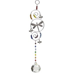 Dragonfly Wire Hanging Crystal Prism Suncatcher Tree of Life Journeys Reconnect with Yourself - Meditation, Law of Attraction, Spiritual Products
