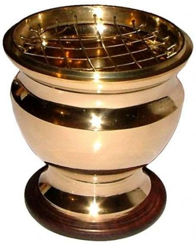Brass Screen Top Urn Incense Burner at Tree of Life Journeys, Reconnect with Yourself - Meditation, Law of Attraction, Spiritual Products