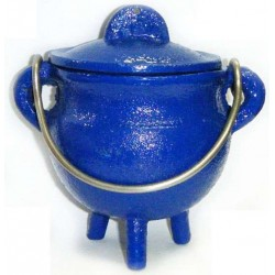 Blue Cast Iron Mini Cauldron with Lid Tree of Life Journeys Reconnect with Yourself - Meditation, Law of Attraction, Spiritual Products