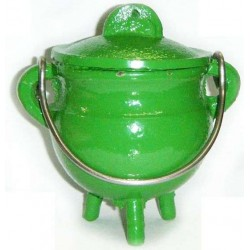 Green Cast Iron Mini Cauldron with Lid Tree of Life Journeys Reconnect with Yourself - Meditation, Law of Attraction, Spiritual Products