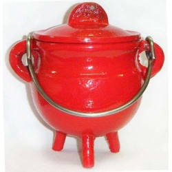 Red Cast Iron Mini Cauldron with Lid Tree of Life Journeys Reconnect with Yourself - Meditation, Law of Attraction, Spiritual Products