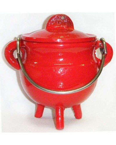 Red Cast Iron Mini Cauldron with Lid at Tree of Life Journeys, Reconnect with Yourself - Meditation, Law of Attraction, Spiritual Products