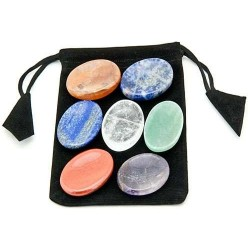 7 Chakra Worry Stone Set in Velvet Pouch Tree of Life Journeys Reconnect with Yourself - Meditation, Law of Attraction, Spiritual Products