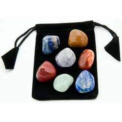 7 Chakra Tumbled Stone Set in Velvet Pouch Tree of Life Journeys Reconnect with Yourself - Meditation, Law of Attraction, Spiritual Products