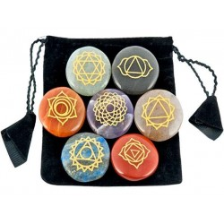 7 Carved Chakra Gem Stones in Velvet Pouch Tree of Life Journeys Reconnect with Yourself - Meditation, Law of Attraction, Spiritual Products