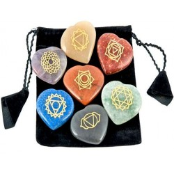 7 Heart Chakra Gem Stones in Velvet Pouch Tree of Life Journeys Reconnect with Yourself - Meditation, Law of Attraction, Spiritual Products