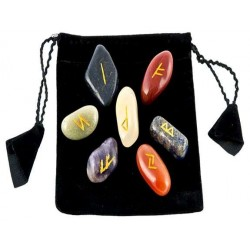 7 Chakra Rune Tumbled Stone Set in Velvet Pouch Tree of Life Journeys Reconnect with Yourself - Meditation, Law of Attraction, Spiritual Products