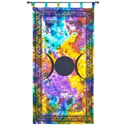 Triple Moon Tie Die Curtain Tree of Life Journeys Reconnect with Yourself - Meditation, Law of Attraction, Spiritual Products