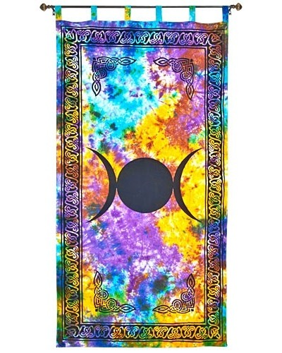 Triple Moon Tie Die Curtain at Tree of Life Journeys, Reconnect with Yourself - Meditation, Law of Attraction, Spiritual Products