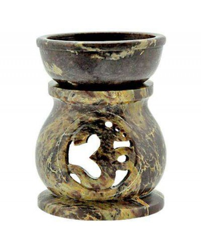 Om Carved Soapstone Oil Burner at Tree of Life Journeys, Reconnect with Yourself - Meditation, Law of Attraction, Spiritual Products