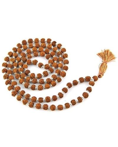 Rudraksha and Silver Prayer Mala at Tree of Life Journeys, Reconnect with Yourself - Meditation, Law of Attraction, Spiritual Products