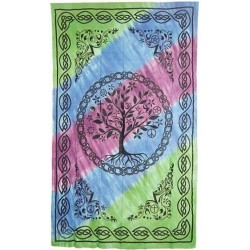 Tree of Life Tie Dye Cotton Full Size Bedspread Tree of Life Journeys Reconnect with Yourself - Meditation, Law of Attraction, Spiritual Products