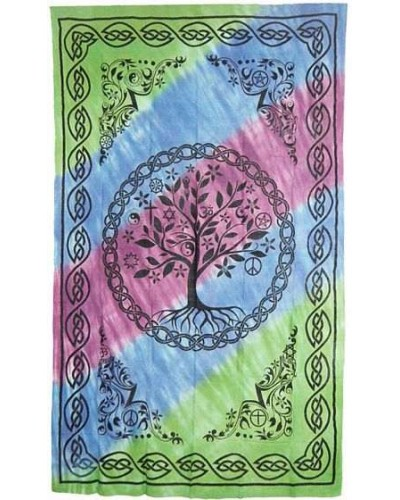 Tree of Life Tie Dye Cotton Full Size Bedspread at Tree of Life Journeys, Reconnect with Yourself - Meditation, Law of Attraction, Spiritual Products