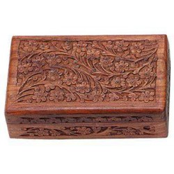 Floral Carved Wooden 8 Inch Box Tree of Life Journeys Reconnect with Yourself - Meditation, Law of Attraction, Spiritual Products