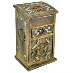Om Carved Wooden Storage Chest Tree of Life Journeys Reconnect with Yourself - Meditation, Law of Attraction, Spiritual Products
