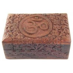 Om Symbol Floral Carved Wood Box - 6 Inches Tree of Life Journeys Reconnect with Yourself - Meditation, Law of Attraction, Spiritual Products