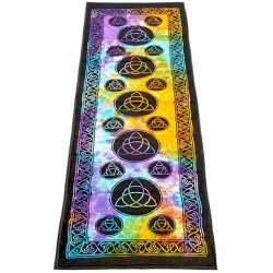 Triquetra Tie Dye Cotton Yoga Mat Tree of Life Journeys Reconnect with Yourself - Meditation, Law of Attraction, Spiritual Products
