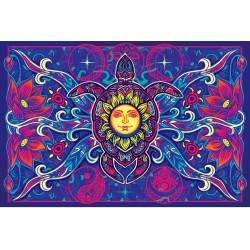 Turtle Moon Cotton Bedspread in 3D Tree of Life Journeys Reconnect with Yourself - Meditation, Law of Attraction, Spiritual Products