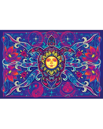 Turtle Moon Cotton Bedspread in 3D at Tree of Life Journeys, Reconnect with Yourself - Meditation, Law of Attraction, Spiritual Products