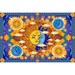 Firey Sun and Moon Cotton Bedspread