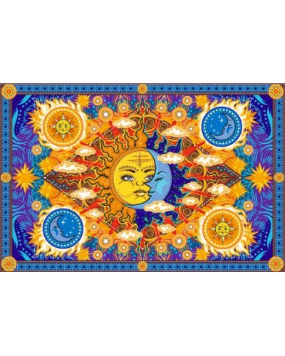 Firey Sun and Moon Cotton Bedspread at Tree of Life Journeys, Reconnect with Yourself - Meditation, Law of Attraction, Spiritual Products