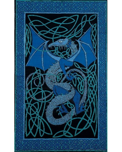 Celtic English Dragon Tapestry - Twin Size Blue