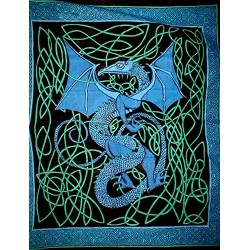 Celtic English Dragon Tapestry - Full Size Blue Tree of Life Journeys Reconnect with Yourself - Meditation, Law of Attraction, Spiritual Products