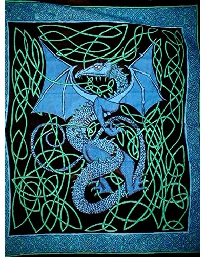 Celtic English Dragon Tapestry - Full Size Blue at Tree of Life Journeys, Reconnect with Yourself - Meditation, Law of Attraction, Spiritual Products