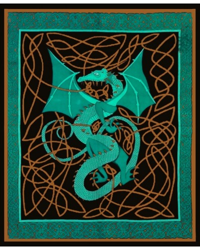 Celtic English Dragon Tapestry - Full Size Green at Tree of Life Journeys, Reconnect with Yourself - Meditation, Law of Attraction, Spiritual Products
