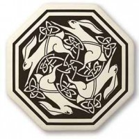 Hare Celtic Porcelain Octagon Necklace