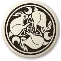 Hare Celtic Rabbit Porcelain Round Necklace