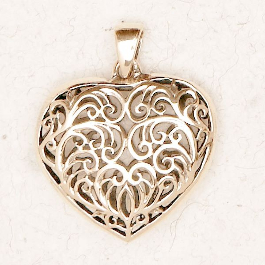 Filigree 2 sided heart bronze necklace aloadofball Image collections