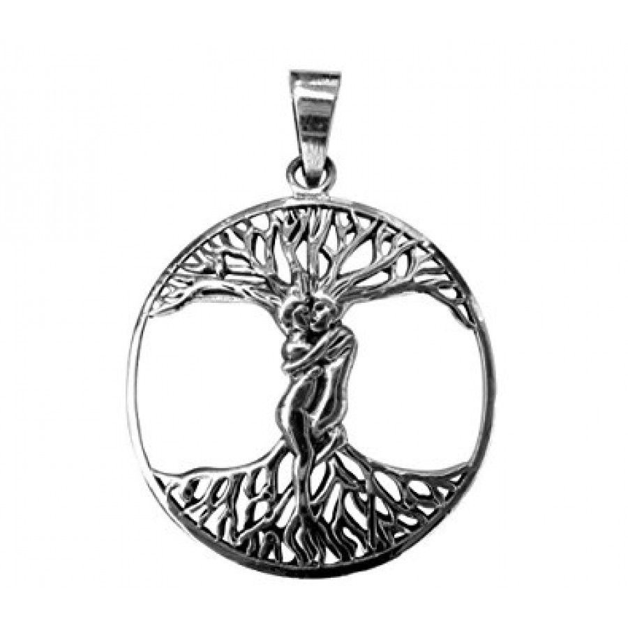 Tree of life pendant with entwined couple lovers in trunk wicca lovers tree of life sterling silver pendant at tree of life journeys reconnect with yourself aloadofball Choice Image
