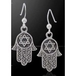 Hamsa Star of David Sterling Silver Earrings at Tree of Life Journeys, Reconnect with Yourself - Meditation, Law of Attraction, Spiritual Products