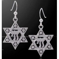 Chai Star of David Sterling Silver Earrings
