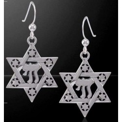 Chai Star of David Sterling Silver Earrings Tree of Life Journeys Reconnect with Yourself - Meditation, Law of Attraction, Spiritual Products
