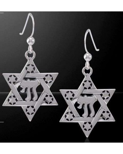 Chai Star of David Sterling Silver Earrings at Tree of Life Journeys, Reconnect with Yourself - Meditation, Law of Attraction, Spiritual Products