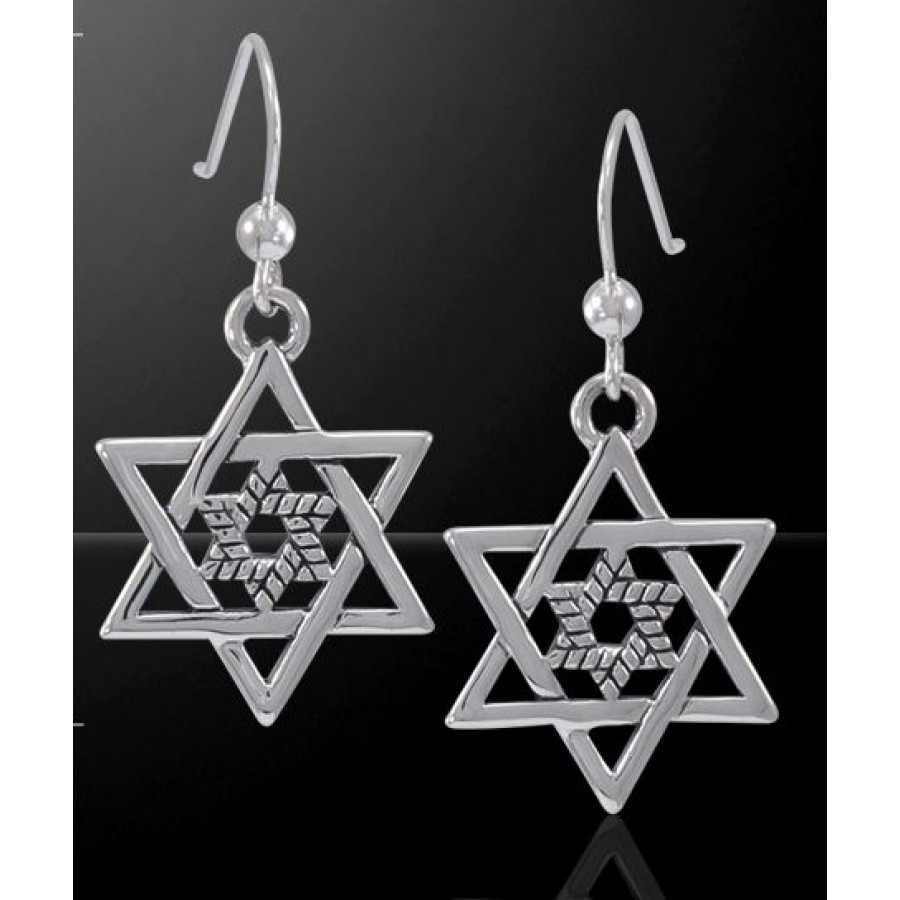 Double star of david sterling silver earrings judiasm jewish double star of david sterling silver earrings at tree of life journeys reconnect with yourself biocorpaavc