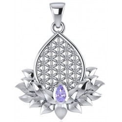 Lotus Flower of Life Amethyst Pendant Tree of Life Journeys Reconnect with Yourself - Meditation, Law of Attraction, Spiritual Products